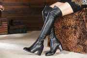 Hot sell Chanel Over-The-Knee Boots women high top boots leather boots