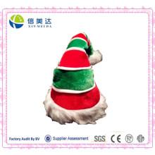 Gorra largo del festival de la Navidad de la felpa roja y verde al por mayor
