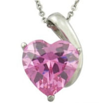 Engagement Crystal Silver Heart Wedding Pendant