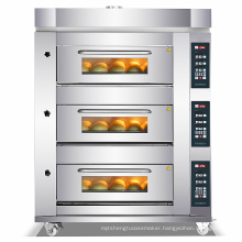 3 deck 6 tray electric control commercial bread baking equipment pizza oven wood fired cake oven bakery rack oven bakery