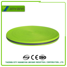 Fluorescent-yellow high visibility reflective ribbon webbing for garments