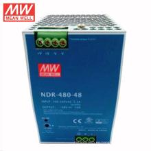 MEANWELL 75w a 480watt delgado y económico NDR serie interruptor de montaje en carril DIN fuente de alimentación 48VDC 10a con ul ce NDR-480-48