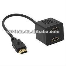 Varón a estrenar de HDMI al cable del adaptador del divisor de la hembra 2x HDMI de HDMI