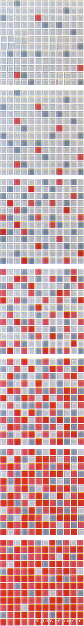 Red Gradual Change Glass Mosaic