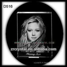 K9 Laser Portrait à l'intérieur du bloc en cristal
