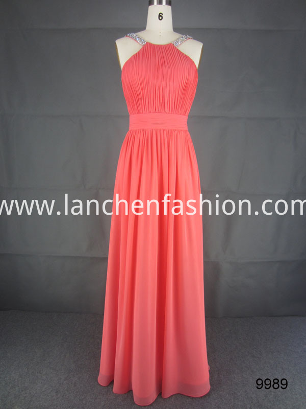 Cocktail Chiffon Dress coral