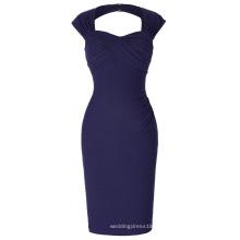 Belle Poque Stock sans manches à l'envers Retour Nylon-Coton Hips-Wrapped Navy Retro Cheap Vintage Robe BP000155-7