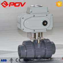 on off 2 way union connection UPVC electric ball valve