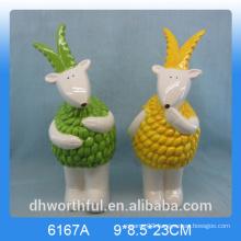 Creative animal figurine ceramic goat ornament