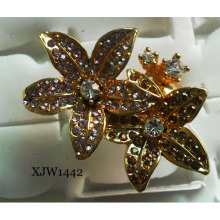 Diamante anel de diamante flor (xjw1442)