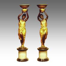 Bougeoir Statue Lady Candlestick Bronze Sculpture TPE-270 & 271 / 270L & 271L