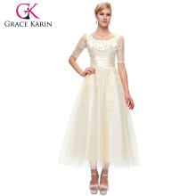 Grace Karin Nuevo cordón largo elegante de la manga de la llegada 2015 más el vestido de noche del tamaño para las mujeres gordas CL6051-2 #