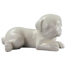 Arte de porcelana en forma de animal, perro de cerámica para la decoración del hogar