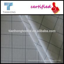 fio de projeto de vidro preto branco listra simples tingido algodão meados 117gsm fina popeline tecer tecidos para vestuário