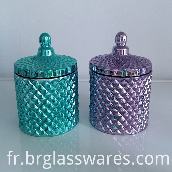 Electroplate purple glass candy jar