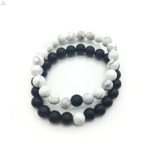2018 accesorios de bricolaje blanco y negro de 8 mm pulsera de joyería para parejas