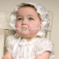 Vestido de cumpleaños del bautizo de las muchachas occidentales de alta calidad con el vestido de la muchacha del bautismo del cumpleaños del bebé del sombrero