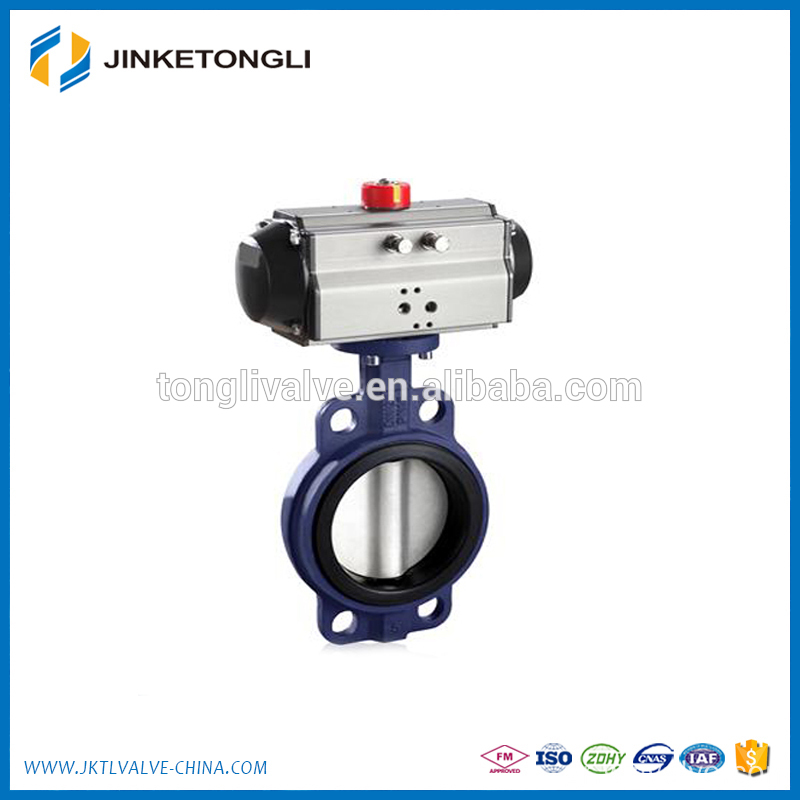 PTFE lined Pneumatic double flange butterfly valve JKTL BT64L