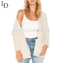 Suéter de la rebeca de gran tamaño del otoño v nueva moda cuello para las mujeres