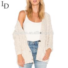 Новая мода осень V-образным вырезом негабаритных свитер кардиган для женщин