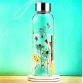 Schöne Blumen-Design Glas Wasserflasche mit Seil Geschenk Tasse Sport Glasflasche