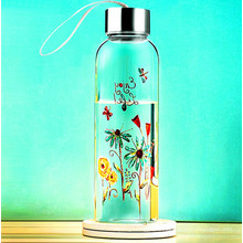 Beautiful Flower Design Glass Water Bottle with Rope Gift Cup Sport Glass Bottle