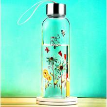 Hermosa flor de diseño de vidrio botella de agua con la cuerda regalo taza de deporte botella de vidrio