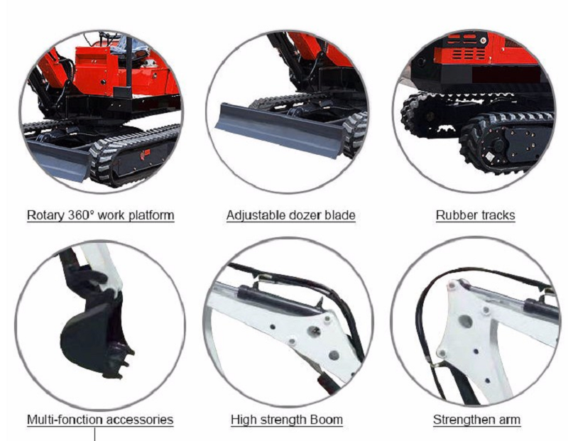 the details for the mini excavator