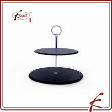 two layer black slate stone cake stand