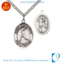 China Customized Antique Silver Plating Iron Stamping 3D Baseball Medal for Gift