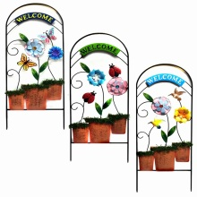 "Metal Flowerpot ""Welcome""Garden Fence Craft with Cloth Flower"