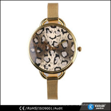 Fancy Zifferblatt Gesicht plattiert Gold Uhr Dame, Damen Armbanduhr