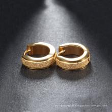La mode de haute qualité placage d'or glaçage des boucles d'oreilles en acier inoxydable 316L Hoop