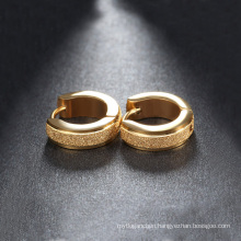 Fashion High Quality Gold Plating Frosting 316L Stainless Steel Hoop Earrings