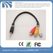 3,5 mm estéreo a 3 RCA Cable macho a hembra 1 a 3 cable de audio y vídeo