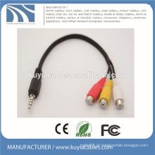 3,5 mm estéreo para 3 RCA cabo masculino para fêmea 1 a 3 cabo de áudio e vídeo
