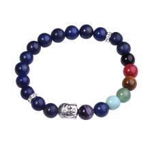 Lapis Lazuli Bracelet Buddha 7 Chakra Gemstone Alloy Beads Jewelry