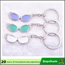 Promotional Wholesale Custom Logo Printing Crystal Glasses Shape Keychain