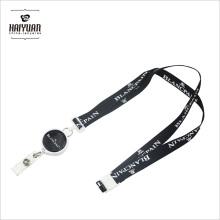 Sublimación de color entero enrollable enrollable cordón con clips blancos