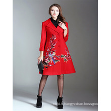 Autumn Luxury 2017 Femme Alibaba Red Emboidered Trench Coat and Jackets