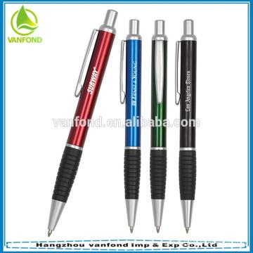 Papelaria de escritório de logotipo personalizado venda promocional metal quente clique caneta