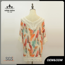 Women Loose Half Sleeve Crochet Chiffon T-Shirt