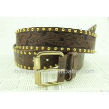 Black metal fashion plate belt with carve flower pattern strape