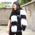 Kobiety Winter Warm Genuine Genuine Mongolian Lamb Fur Scarf