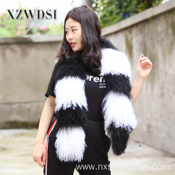 Women Winter Warm Genuine Mongolian Lamb Fur Scarf