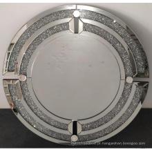 Espelho de suspensão moderno redondo de diamante de cristal