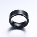 Bague en fibre de carbone tungstène noire à graver pour mariage