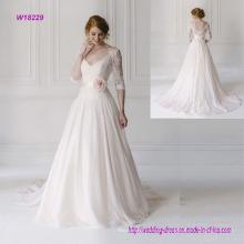 V Neck Lace Half Sleeve Wedding Dress