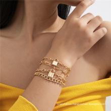 European and American Fashion Jewellery Gold Jewelry Lock Pendant Cross Chain Punk Hip Hop Cuban Multilayer Chain Bracelet for Women
