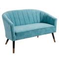 Modern Designer Furniture Blue Fabric Couch Relax Loveseat Velvet 2 Seater Sofa For Living Room